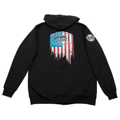 Wehrli Custom Fabrication - Men's Zip Hoodie - Flag Logo Black