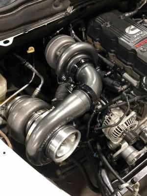 Wehrli Custom Fabrication - 2003-2007 5.9 Cummins S400/S300 Side by Side Twin Turbo Kit