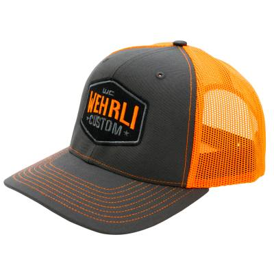 Wehrli Custom Fabrication - Snap Back Hat Charcoal/Neon Orange Badge