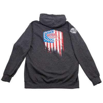 Wehrli Custom Fabrication - Men's Zip Hoodie - Flag Logo Heathered Charcoal