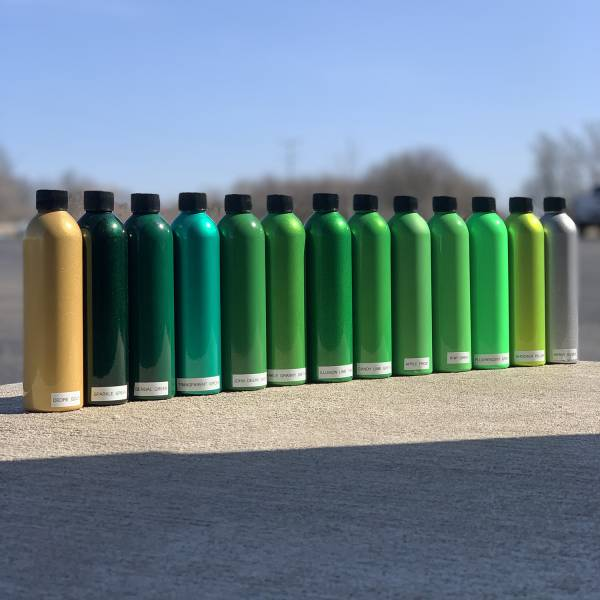 Deore Gold, Sparkle Green, Bengal Green, Transparent Green, John Deere Green, Sparkle Granny Smith, Illusion Lime Time, Candy Lime Green, Apple Frost, Kiwi Green, Fluorescent Green, Shocker Yellow, Heavy Silver