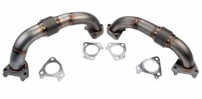 "2011-2016 LML - Twin Turbo Kits - Wehrli Custom Fabrication - 2001-2016 Duramax 2"" Stainless Twin Turbo Up Pipe Kit for OEM Manifolds w/ Gaskets"
