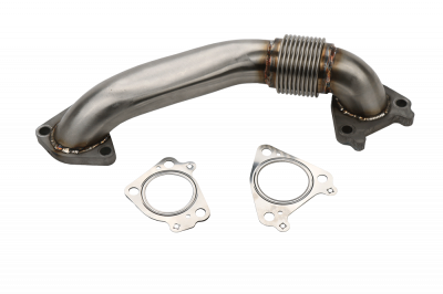 "Wehrli Custom Fabrication - 2001-2016 Duramax 2"" Stainless Single Turbo Style Pass Side Up Pipe for OEM Manifold with Gaskets"