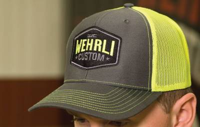 Apparel & Merchandise - Hats & Can Coozies - Wehrli Custom Fabrication - Snap Back Hat Charcoal/Fluorescent Green Badge