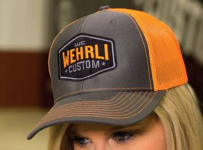 Apparel & Merchandise  - Hats & Can Coozies - Wehrli Custom Fabrication - Snap Back Hat Charcoal/Fluorescent Orange Badge
