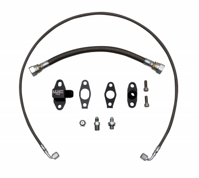 Turbo Kits - Single Turbo Kits - Wehrli Custom Fabrication - 2001-2010 LB7/LLY/LBZ/LMM Duramax S300 Single Turbo Oil Line Kit
