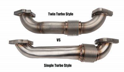 "Wehrli Custom Fabrication - 2001-2016 Duramax 2"" Stainless Twin Turbo Style Pass Side Up Pipe for OEM Manifold with Gaskets - Image 3"