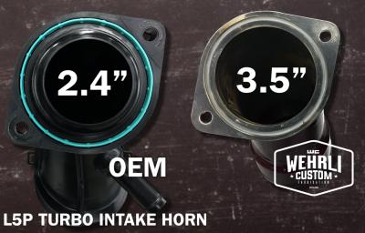 "Wehrli Custom Fabrication - 2017-2019L5P Duramax 3 1/2"" Turbo Intake Horn with PCV Port - Image 3"