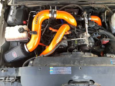 "Bengal Orange, shown with optional Driver Side Intercooler pipe and 3"" Y-Bridge Kit"