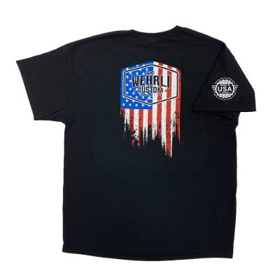 Apparel & Merchandise  - T-Shirts  - Wehrli Custom Fabrication - Men's T-Shirt- Flag Logo Black