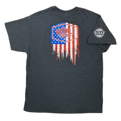 Apparel & Merchandise  - T-Shirts  - Wehrli Custom Fabrication - Men's T-Shirt- Flag Logo Dark Heather