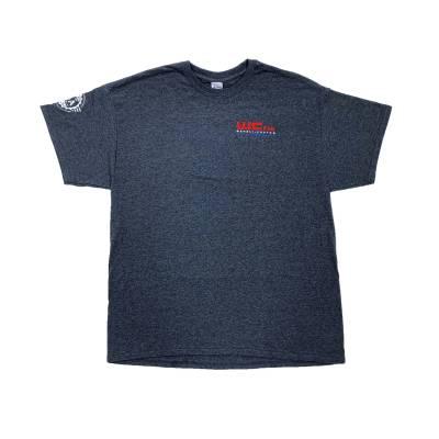 Wehrli Custom Fabrication - Men's T-Shirt- Flag LogoDark Heather - Image 2