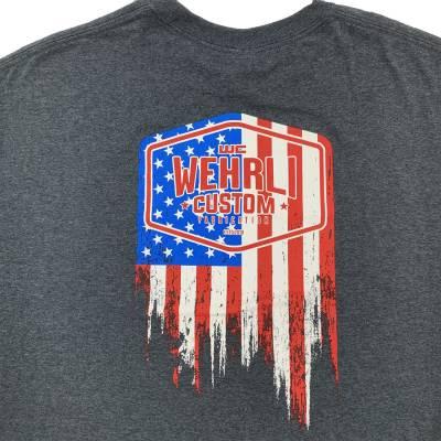 Wehrli Custom Fabrication - Men's T-Shirt- Flag LogoDark Heather - Image 3