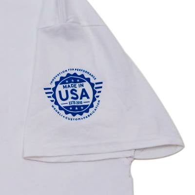 Wehrli Custom Fabrication - Men's T-Shirt- Flag Logo White - Image 3