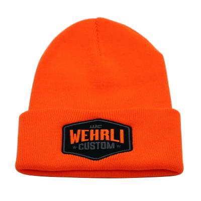 Apparel & Merchandise - Hats - Wehrli Custom Fabrication - Beanie Hat Orange - Badge
