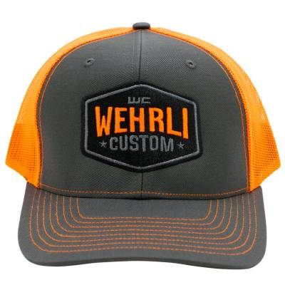 Wehrli Custom Fabrication - Snap Back Hat Charcoal/Neon Orange Badge - Image 2