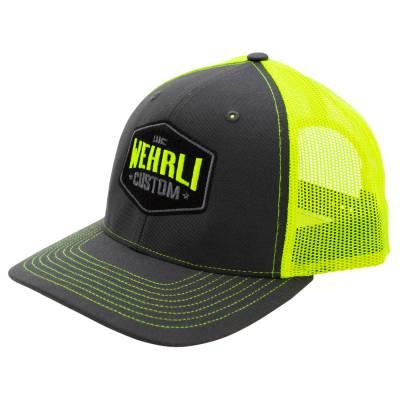 Apparel & Merchandise - Hats - Wehrli Custom Fabrication - Snap Back Hat Charcoal/Neon Yellow Badge