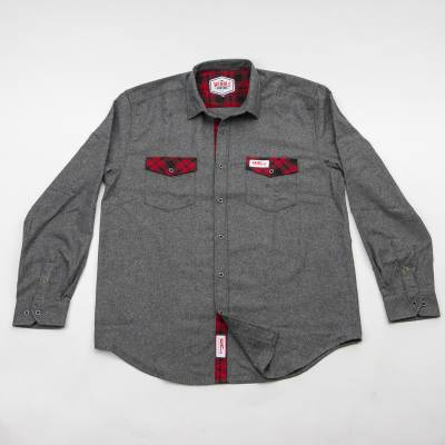 Wehrli Custom Fabrication - Men's Flannel - Grey with Red Buffalo Plaid Accents, Limited Edition - Image 1