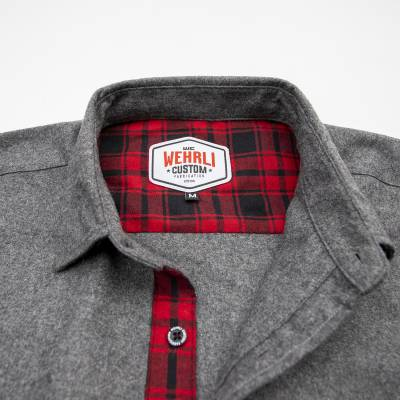 Wehrli Custom Fabrication - Men's Flannel - Grey with Red Buffalo Plaid Accents, Limited Edition - Image 3