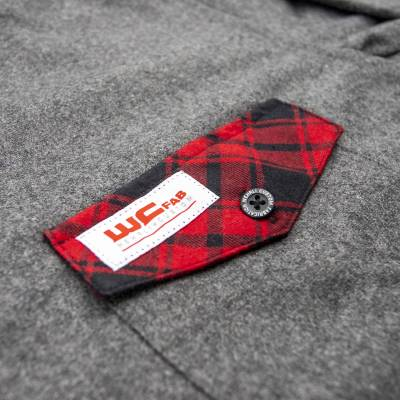 Wehrli Custom Fabrication - Men's Flannel - Grey with Red Buffalo Plaid Accents, Limited Edition - Image 4