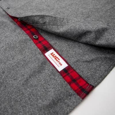 Wehrli Custom Fabrication - Men's Flannel - Grey with Red Buffalo Plaid Accents, Limited Edition - Image 6