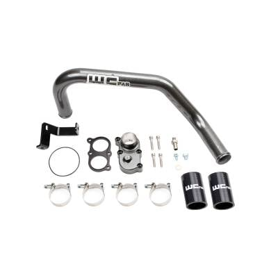 Wehrli Custom Fabrication - 2006-2010 LBZ/LMM Duramax Top Outlet Billet Thermostat Housing and Upper Coolant Pipe Kit for DUAL CP3